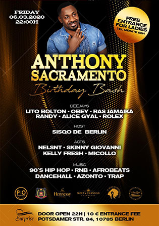 Surprise Club Berlin Anthony Sacramento Birthday party